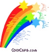 Vector Clipart image  of a rainbows with stars