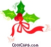 Christmas ribbon with holly Vector Clipart illustration