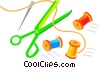 Scissors, needle and thread Vector Clip Art picture