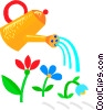 Vector Clip Art graphic  of a Watering can with flowers