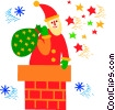 Santa sliding down the chimney Vector Clip Art picture