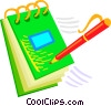 Vector Clipart graphic  of a pad of paper with a pen