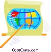 Vector Clip Art image  of a globe and pointer