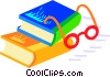Vector Clip Art picture  of a text books with eye glasses