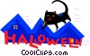 black cat on Halloween Vector Clipart image
