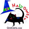 Vector Clipart picture  of a Halloween black cat