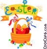 Easter basket with eggs Vector Clipart illustration