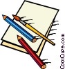Vector Clipart picture  of a pencil crayons and paint brush