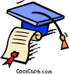 Vector Clipart graphic  of a graduation hat with diploma