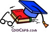 Vector Clip Art graphic  of a graduation hat and school