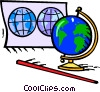 Vector Clipart graphic  of a maps and world globes