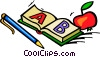 Vector Clipart image  of a School book and apple