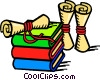 Books and certificates Vector Clip Art picture