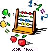 Abacus with apples and numbers Vector Clipart illustration