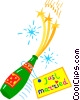 bottle of champagne Vector Clipart graphic