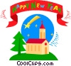 Vector Clip Art image  of a New Year's banner