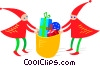 Vector Clip Art graphic  of a elves with Christmas presents