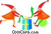 Christmas elves with presents Vector Clipart picture