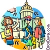 tourists, vacations, holidays Vector Clipart illustration