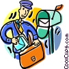 postal worker collecting the mail Vector Clipart illustration