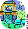 Vector Clipart graphic  of a farmer driving a tractor