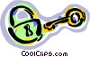 Vector Clipart image  of a padlock and key