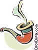 Vector Clip Art image  of a smoking pipe