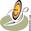 Vector Clip Art picture  of a needle thread and button