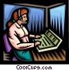 Vector Clipart image  of a Woman working at the switch