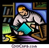 Vector Clip Art image  of a person reading a report
