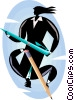 Vector Clip Art picture  of a Businessman and businesswoman