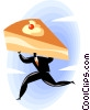 man running with a piece of the pie Vector Clipart graphic