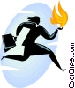 Businesswoman running with fire Vector Clipart graphic