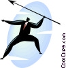 Vector Clipart image  of a businessman throwing a spear