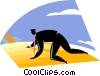 Vector Clipart graphic  of a businessman crawling through