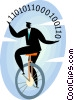 Vector Clipart graphic  of a Businessman on a unicycle