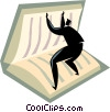 Vector Clip Art image  of a businessman opening a book