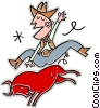 Vector Clip Art graphic  of a cowboy ridding a bull
