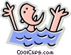 Vector Clipart graphic  of a person drowning in the water