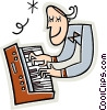 musician playing the keyboard Vector Clipart illustration