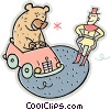 Vector Clip Art picture  of a bear driving a car in the