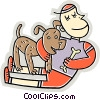 Vector Clipart illustration  of a boy playing with a dog