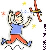 Vector Clipart picture  of a child playing with airplane