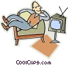 Vector Clip Art graphic  of a man watching television