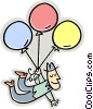 Vector Clipart graphic  of a man with balloons