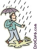 man walking in the rain with an umbrella Vector Clipart image