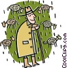Vector Clipart image  of a Shepard minding the flock