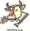 cow eating flowers Vector Clipart graphic