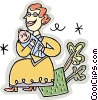 Woman with a baby Vector Clip Art image