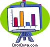 easel with a graph Vector Clipart graphic